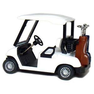 "New 4.5"" Kinsfun Golf Cart w/ Clubs Diecast Metal Model Caddy Toy Car Gift White"