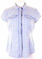 CREW CLOTHING Womens Shirt Short Sleeve Size 14 Large White Check Cotton  II03