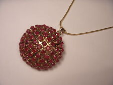 Magnificent Antique 14K Pink Rose Gold Handmade Ruby Brooch Pendant