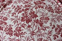 French Antique 19thC  Cotton Tropiocal Floral Toile Fabric c1870~Quilts,Home