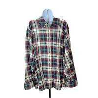 Gitman Bros Mens Shirt Size XL Shirt Long Sleeve Blue Red White Plaid