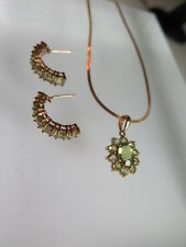 14K Yellow Gold Peridot  Pendant Necklace Earrings Set (#134)