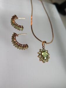 14K Yellow Gold Peridot  Pendant Necklace Earrings Set (#134)