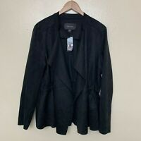 Karen Kane Faux Suede Draped Open-Front Jacket Large Black Drawstring $158