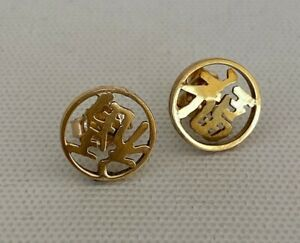 9ct Solid Yellow Gold 3D Chinese Good Fortune Character  Stud Earrings