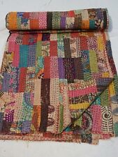 Indian patchwork kantha quilt reversible bedspread cotton queen coverlet throw