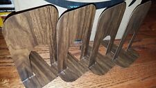 Unbranded Metal Wood Color Design Set Of 4 Book Shelf Bookends Barely Used Great
