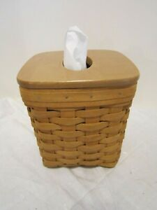 Longaberger 2004 Tall Tissue Basket with Wood lid