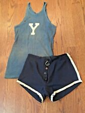 Vintage YALE Bulldogs 1920s Antique Game Used Basketball Uniform Jersey & Shorts
