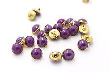 Purple Shank Buttons Golden Vintage Style Small Brass Round Shape 10mm 100pcs