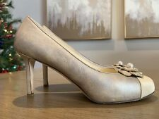 Gorgeous Chanel Mother of Pearl Camellia High Heels Shoes Size 39