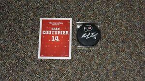 Sean Couturier Philadelphia Flyers Autographed Hockey Puck COA Santa Sack