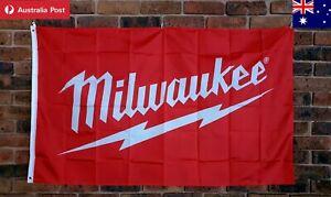 Milwaukee Flag 150 x 90 cm collectable mancave garage essentials Australia Stock