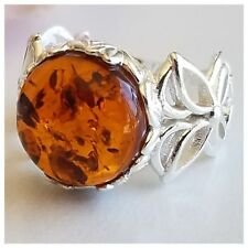 4.4gram NATURAL LARGE BALTIC AMBER 925 STERLING SILVER REAL AMBER RING SIZE 6