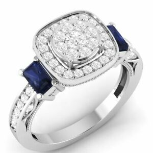 1.49CT Diamond & Sapphire Halo Engagement Ring in 14K White Gold Finish