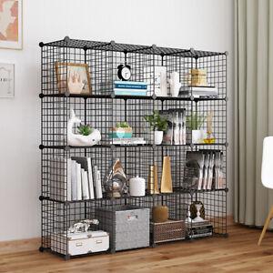 16 Cube Wire Grid Shelving Bookcase Shelf Storage Display Cabinet Unit DIY