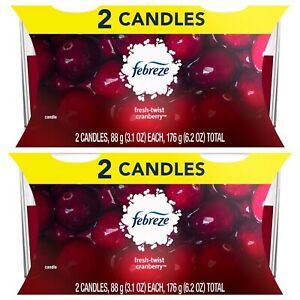 2X Sets Febreze Fresh Twist Cranberry Double Wick Candles 3.1 Oz Total 4 LIMITED