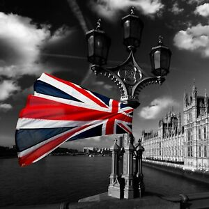 Black And White London - Great Britain Flag Poster & Canvas Picture Prints