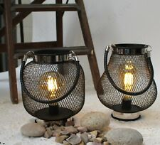 Metal / Wire Hanging Lantern & Industrial Style Filament Effect LED Light Bulb.