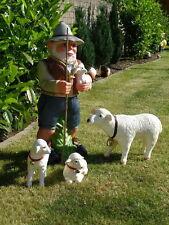 Schafhirte SCHÄFER und 3 SCHAFE,Gartendeko,Gartenfigur, Gartenzwerge