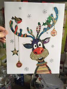 Bug Art Reindeer and Robin Gift Bag Large 35x26cm