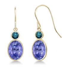 2.52 Ct Oval Blue Tanzanite Blue Diamond 14K Yellow Gold Earrings