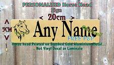 Stable Door Sign Personalised Horse head Brushed Gold printed Ali metal No decal