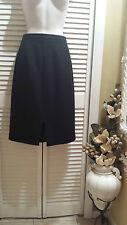 "Talbots Pencil Skirt Wool Black Stretch Size 8P Front Cut 6"""