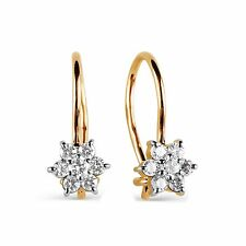 585/14ct Russian Rose Gold Kids Womens CZ Cluster Hook Earrings Gift Boxed