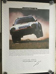 PORSCHE 959 RALLY PARIS DAKAR OFFICIAL PARTS DEPARTMENT DEALER POSTER 1986.