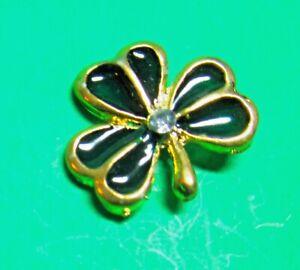 HALLMARK GREEN SHAMROCK ST PATRICKS DAY GOLD METAL TIE TAC SCATTER PIN (P113)