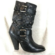 ca2cf6eb568a3 Sam Edelman Black Studded Grain Leather Block Heel Fashion Slouch Boot  Women 9.5