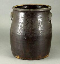 ^ Antique ea.1800's American Brown-Glazed Stoneware Handled Crock Jar
