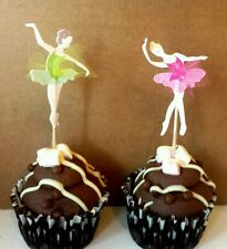 12 Ballet Dancer cup cake birthday cake.kids party toppers.10cm Pink & Green Net