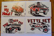 1972 EXHIBIT SUPPLY WACKY CARS SET - 16 ARCADE CARDS  TORINO GT  BOSS 429  VETTE