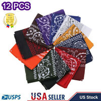 Wholesale Paisley Print Bandana cotton blend Head Warp Scarf Face Mask USA 12Pcs