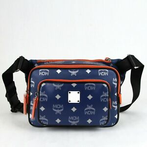 MCM Resnick Estate Blue Leather Reflective Nylon Belt Bag MUZ9ARA09VE001