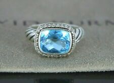 David Yurman Sterling Silver Noblesse Blue Topaz Diamond Cocktail Ring Size 5.25