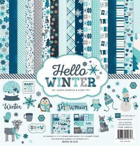 Echo Park HELLO WINTER 12x12 Collection Kit Scrapbook Snow Holidays