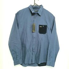 Wrangler Mens Shirt Size L Navy Blue Long Sleeve Corduroy Patches Button-Up NWT