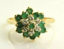 Emerald and Diamond Cluster Ring Set in 10k Yellow Gold .95 Carats - Size 7.5