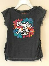 Cat and Jack Toddler Girls Gray Short Sleeve Ruffle Tee Shirt Size 2T