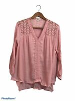 Style & Co. Pink Long Sleeve Macramé Floral Boho Peasant Blouse Top Size Large