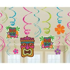 12 x Hawaiian Hanging Swirls Party Decorations Large Value Pack Tiki Totems
