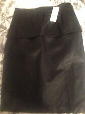 Seleccione Cuero Negro Look Peplum Falda Talla 10 BNWT