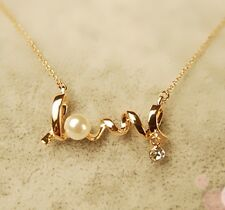 GOLD Womens LOVE letters Imitation Diamond Pearl Pendant Necklace
