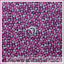 BonEful Fabric FQ Cotton Quilt VTG Pink Black Flower Daisy Sm Tiny Little Calico