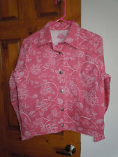 Shaver Lake womens button-down casual floral jacket size S pink white floral