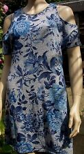 NEW LOOK Grey Blue Floral Print  Cold Shoulder Casual Summer Dress Size 8