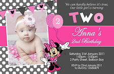 Personalised Minnie Mouse Birthday Invitations 1st 2nd 3rd 4t Kids Photo invites
